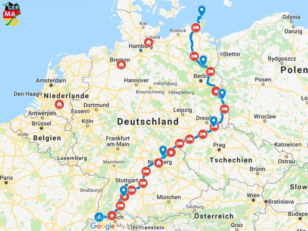 Meine Route mit allen Stationen.